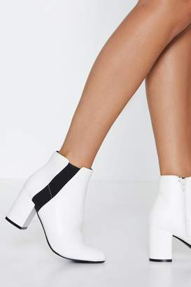 Nasty Gal White PU Contrast Stripe Ankle Boot