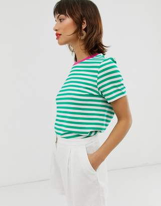 And other stories &  contrast trim stripe tee-shirt in green