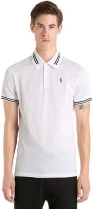 Neil Barrett Printed Bolt Cotton Pique Polo Shirt