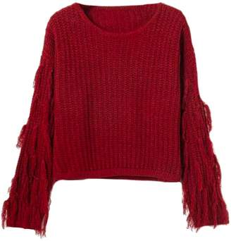 Goodnight Macaroon 'Winnie' Fringe Sleeve Rib Knitted Sweater (4 Colors)