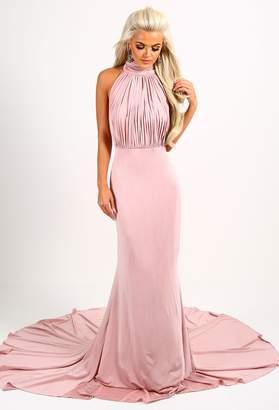 Pink Boutique Cordelia Blush Pink Slinky Halterneck Maxi Dress