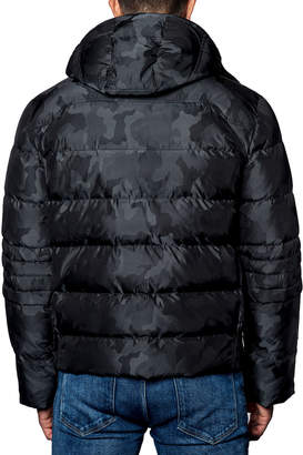 Jared Lang Semi-Fitted Snap-Hood Puffer Jacket, Black Camo