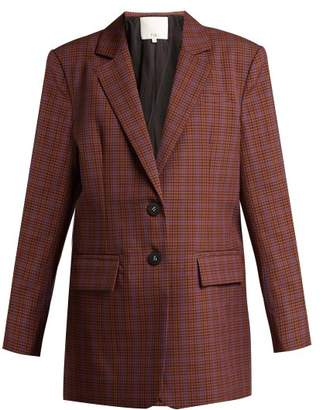 Tibi Checked Twill Blazer - Womens - Brown Multi