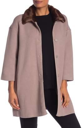 Catherine Malandrino Faux Fur Collar Snap Down Jacket