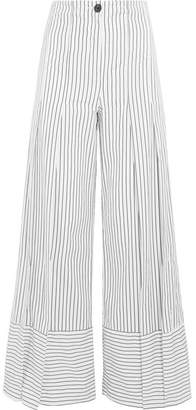 Tome Pleated Striped Cotton Wide-leg Pants - White