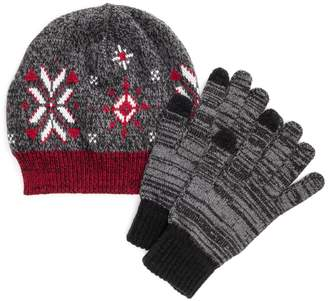 Muk Luks Women's Knit Beanie & Gloves Set