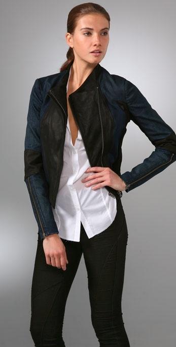 Helmut Lang Denim Leather Combo Jacket