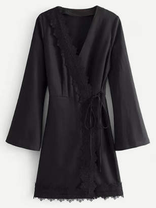 Romwe Lace Trim Self Tie Kimono Dress