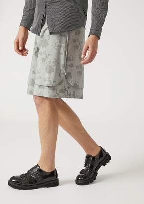 Emporio Armani Bermuda Shorts With Layered Hems And Floral Pattern