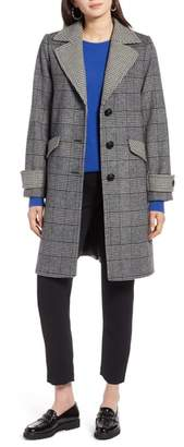 Halogen Plaid Mix Wool Coat