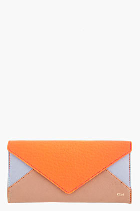 Chloé Bright Coral Colorblocked Leather Wallet