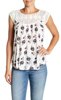 Lucky Brand Crochet Yoke Top