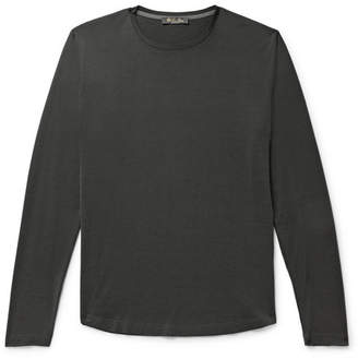 Loro Piana Slim-Fit Silk and Cotton-Blend Jersey T-Shirt - Men - Charcoal
