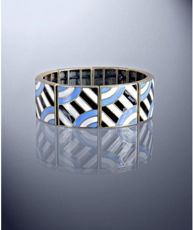 Lee Angel 'Margherita' blue enamel square stretch bracelet