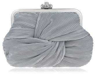 Nina Pleated Chiffon Frame Clutch - Grey $68 thestylecure.com