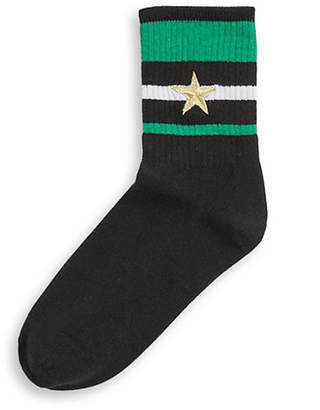 Topshop Embroidered Star Sporty Tube Socks