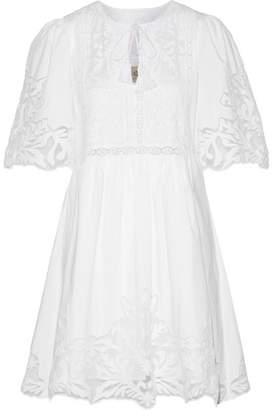 SEA - Crochet And Tulle-trimmed Cotton-poplin Mini Dress - White $415 thestylecure.com