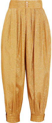 Gucci Cropped Textured-lamé Tapered Pants - Gold