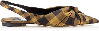 Jimmy Choo ANNABELL FLAT Caramel Mix Check Fabric Sling Back Closed Toe Flats