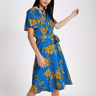 River Island Blue floral tie front midi dress