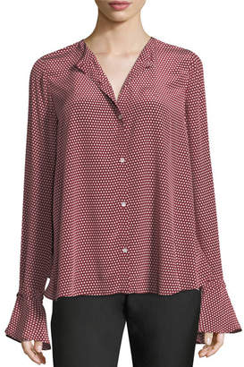 Robert Rodriguez Star-Print Button-Front Open-Back Silk Blouse