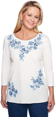 Alfred Dunner Out Of The Blue 3/4 Sleeve Crew Neck Floral T-Shirt-Womens