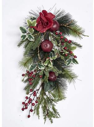 """Millwood Pines 25"""" Pine Tear Drop Pomegranate and Rose Swag"""