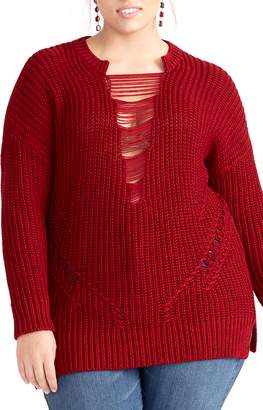 Rachel Roy Rina Distressed Detail Shaker Sweater