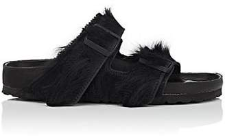 Rick Owens Women's Arizona Cow Fur Double-Buckle Sandals - Black