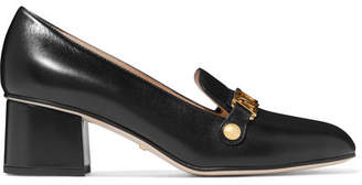 Gucci Sylvie Chain-embellished Leather Pumps - Black