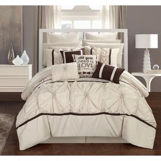 Chic Home 16-Piece Legaspi Floral Pinch Pleat Ruffled Designer Embellished King Bed In a Bag Comforter Set Beige With sheet set