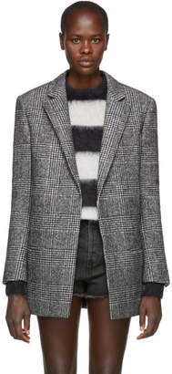 Saint Laurent Black and White Wool Houndstooth Blazer