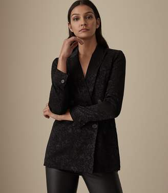 Reiss Our last order date for Christmas has now passed DAHLIA JACQUARD DOUBLE BREASTED BLAZER Black