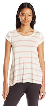 Jolt Women's Striped Short-Sleeve Top with Lace Back