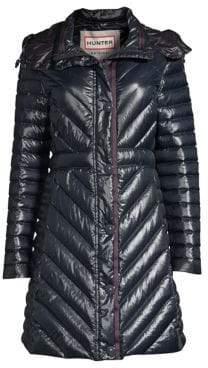 Hunter Women's Gloss Down Puffer Coat - Navy - Size Small