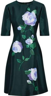Lela Rose Floral-Print Wool And Silk-Blend Taffeta Dress