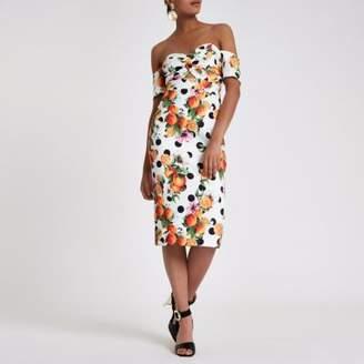 River Island White printed bardot bodycon midi dress