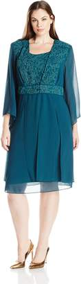 Le Bos Women's Plus Size Slit Detail Beaded Duster Jacket Dress