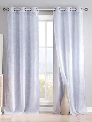Kensie Leone Sheer & Faux Silk Grommet Window Panels (Set of 4)