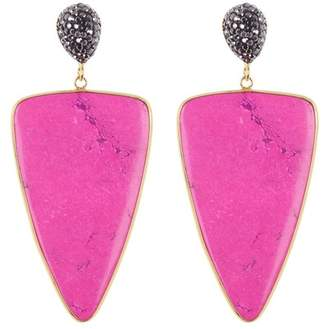 Panacea Luxe Hot Pink Triangle Stone Earrings
