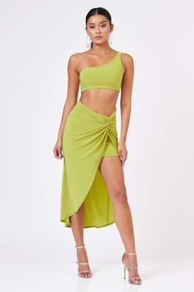 b4e47237f Club L Womens **Knot Detail Asymmetric Skirt By Lime