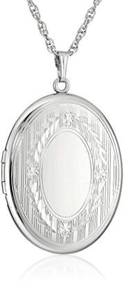 Sterling Silver Extra-Large Engraved Oval Locket Necklace
