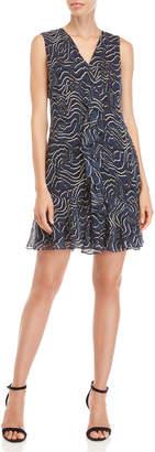 Derek Lam 10 Crosby Printed Cascading Ruffle V-Neck Silk Dress