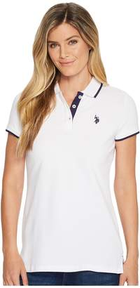 U.S. Polo Assn. Stretch Pique Dot Print Polo Shirt Women's Clothing