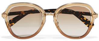 Jimmy Choo Dree Round-frame Acetate And Gold-tone Sunglasses