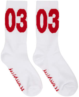032c White and Red Workshop Socks