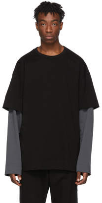 Juun.J SSENSE Exclusive Black and Grey Layered Long Sleeve T-Shirt