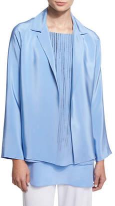Shamask Notched-Collar Open-Front Jacket, Blue