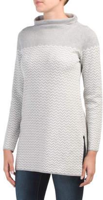 Long Patterned Turtleneck Sweater