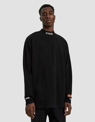 Heron Preston L/S CTNMB Mock Neck T-Shirt in Black